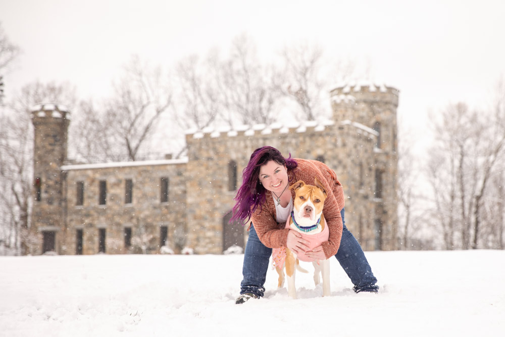 Mom and Dog castle portrait