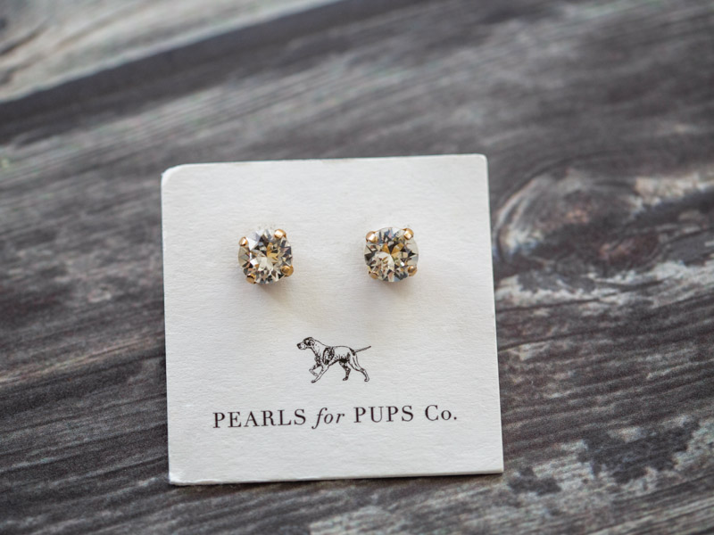 "Pearls for Pups crystal earrings in ""The Kota"" to support rescue"