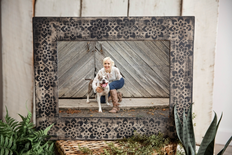 Bohemian vintage hand painted frame